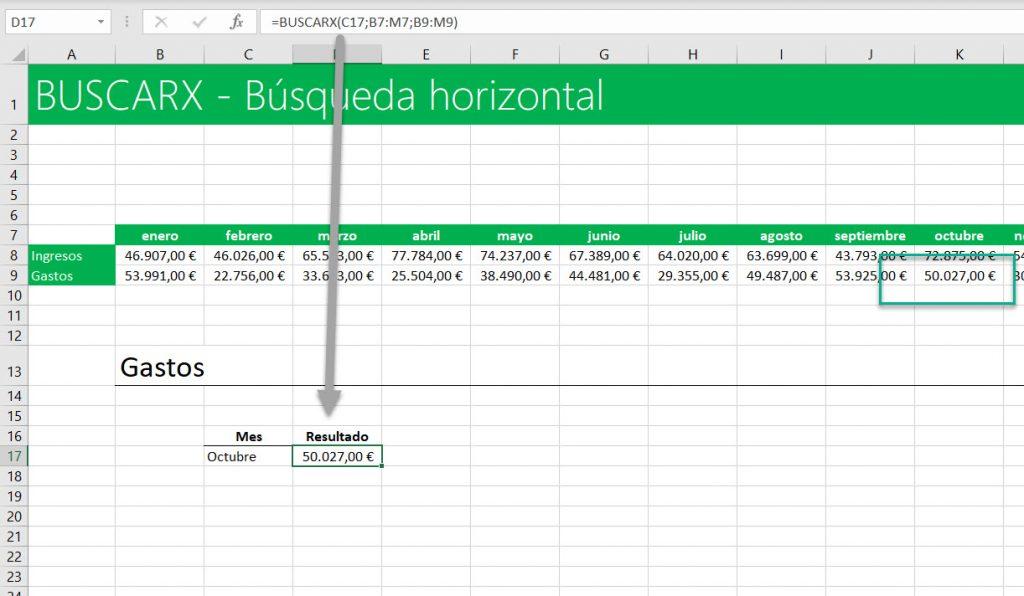 función BUSCARX búsquedas en horizontal