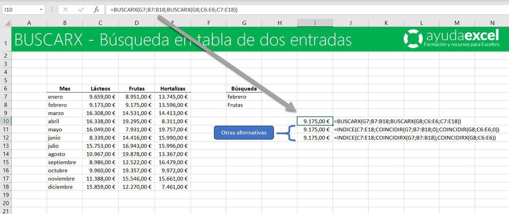 función BUSCARX buscar en tabla de doble entrada