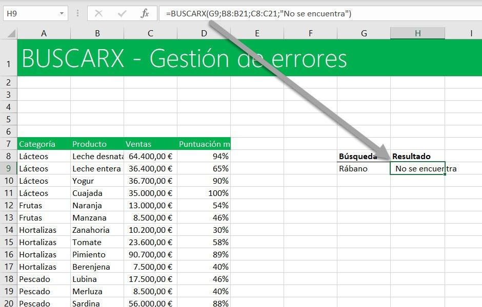 gestión de errores con BUSCARX