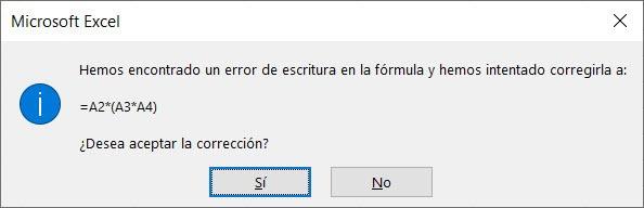 Error con paréntesis Excel