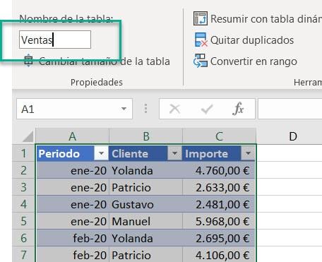 Dar nombre a una tabla de Excel