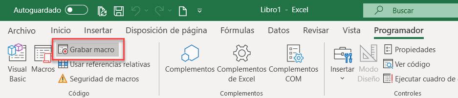 Grabar macro grabadora Excel