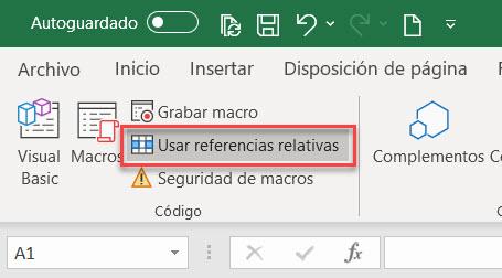 referencias relativas grabadora de macros excel
