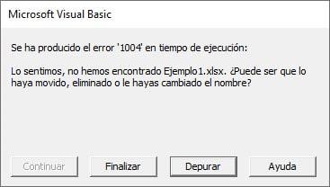 error 1004 en tiempo de ejecución vba
