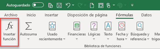botón insertar función Excel