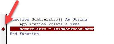 Punto de ruptura código VBA Excel