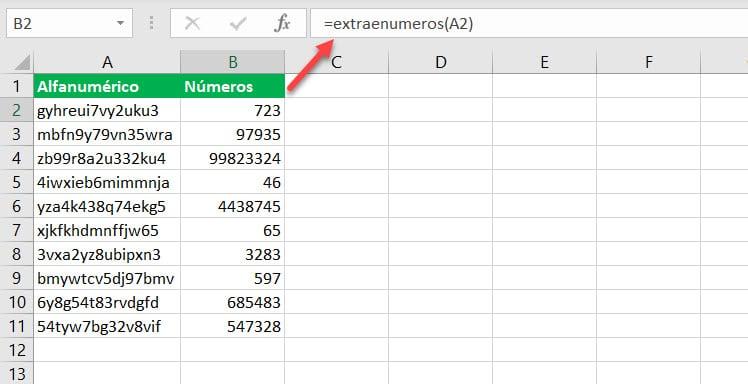 Función ExtraeNumeros Excel