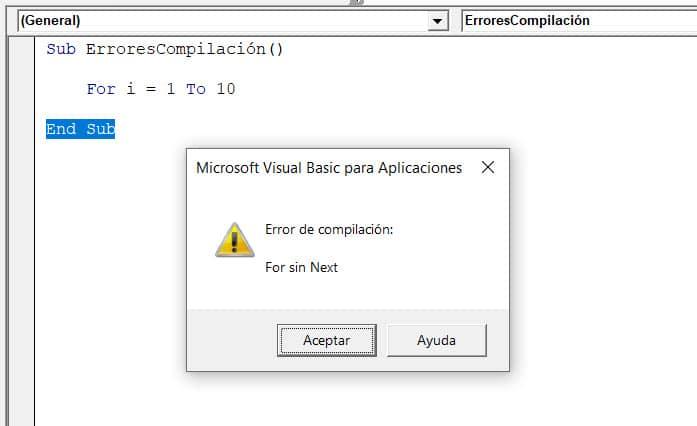 error de compilación for sin next vba excel