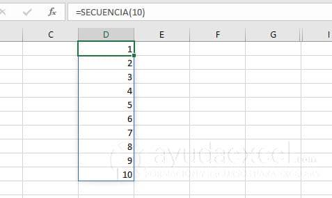 función secuencia excel vertical