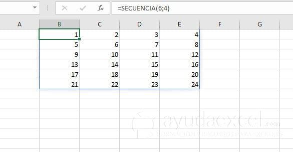 funcion secuencia excel 2d