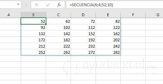 funcion secuencia excel intervalo