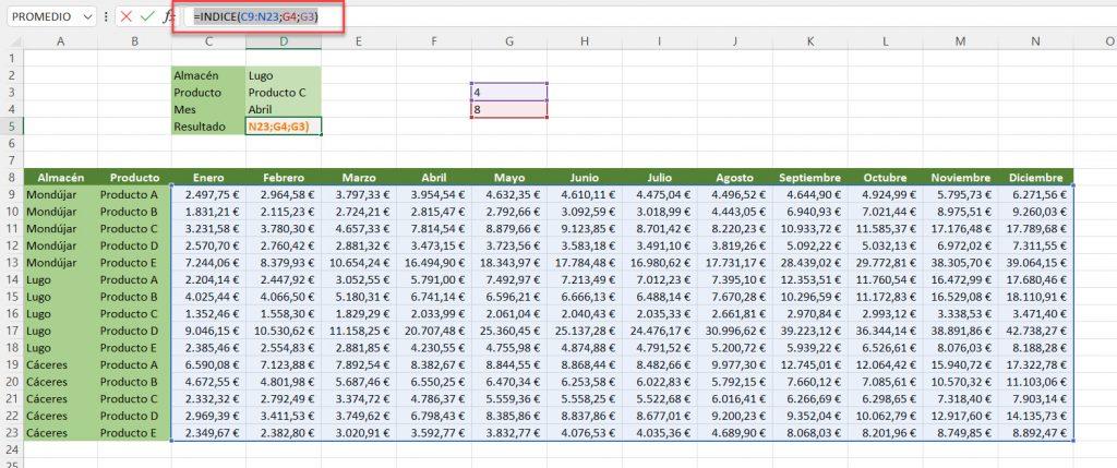 Uso de la función INDICE Excel